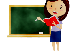 Cartoon image of a teacher about to write on a chalkboard